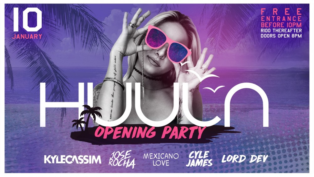 Huula Beach Club Opening Party Event Poster - MegaDose Ltd